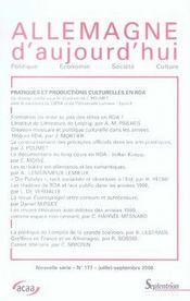 REVUE ALLEMAGNE D'AUJOURD'HUI T.177 ; pratiques et productions culturelles en RDA - Intérieur - Format classique