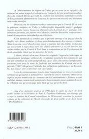 Conseil D Etat Et Vichy - 4ème de couverture - Format classique