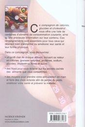 Mon Compagnon Des Calories, Glucides Et Cholesterol - 4ème de couverture - Format classique