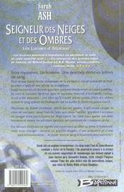 Les larmes d'Artamon t.1 ; seigneur des neiges et des ombres - 4ème de couverture - Format classique