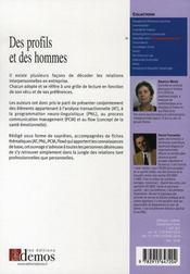Des profils et des hommes - 4ème de couverture - Format classique