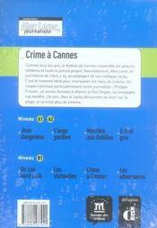 Alex Leroc, journaliste ; crime à Cannes ; niveau 2 - 4ème de couverture - Format classique
