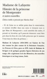 Histoire de la princesse de Montpensier et autres nouvelles - 4ème de couverture - Format classique