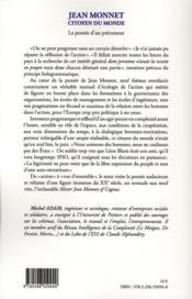 Jean Monnet ; citoyen du monde ; la pensée d'un précurseur - 4ème de couverture - Format classique