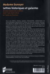 Lettres historiques et galantes ; de deux dames de condition dont l'une était à Paris et l'autre en Pronvince - 4ème de couverture - Format classique