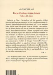 Corps d'enfance, corps chinois ; Sollers et la Chine - 4ème de couverture - Format classique