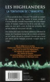Les highlanders ; la tentation de l'immortel - 4ème de couverture - Format classique