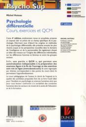 Psychologie différentielle ; cours, exercices et QCM (4e édition) - 4ème de couverture - Format classique