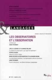 Communication et langage t.171, les observatoires et l'observation - Couverture - Format classique