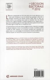 La décision électorale en 2012 - 4ème de couverture - Format classique