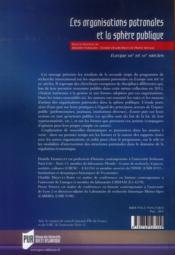 Organisations patronales et la sphère publique - 4ème de couverture - Format classique