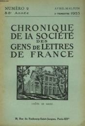 CHRONIQUE DE LA SOCIETE DES GENS DE LETTRES DE FRANCE N°2, 88e ANNEE ( 2e TRIMESTRE 1953) - Couverture - Format classique