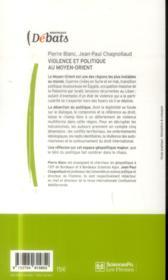 Violence et politique au Moyen-Orient - 4ème de couverture - Format classique