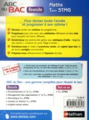 Abc Du Bac Reussite T.49 ; Mathématiques ; Terminale Stmg - 4ème de couverture - Format classique