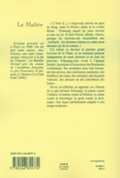 Le maître - 4ème de couverture - Format classique