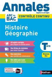 Annales ABC du bac ; sujets & corrigés ; histoire-géographie : terminale (édition 2020) - Couverture - Format classique
