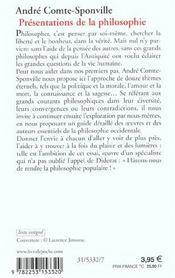 Présentations de la philosophie - 4ème de couverture - Format classique