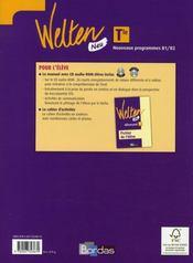WELTEN NEU ; allemand ; terminale ; manuel ; nouveaux programmes B1>B2 (édition 2008) - 4ème de couverture - Format classique