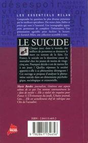 Le suicide - 4ème de couverture - Format classique