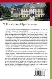 Cap 2007 ; actes de la conférence francophone sur l'apprentissage automatique - 4ème de couverture - Format classique
