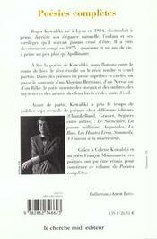 Poesies completes - 4ème de couverture - Format classique