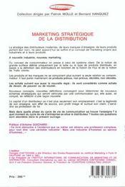 Marketing Strategique De La Distribution - 4ème de couverture - Format classique
