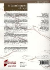 Revue La Licorne N.94 ; Le Bannissement Et L'Exil En Europe Aux Xvie Et Xviie Siècles - 4ème de couverture - Format classique