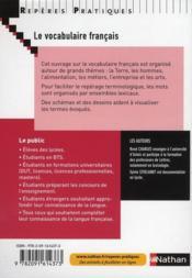 Le vocabulaire francais (édition 2010) - 4ème de couverture - Format classique