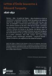 Lettres d'Emile Souvestre à Edouard Turquéty ; 1826-1856 - 4ème de couverture - Format classique