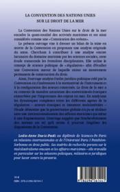 La convention des Nations unies sur le droit de la mer ; instruments de régulation ddes relations internationales par le droit - 4ème de couverture - Format classique
