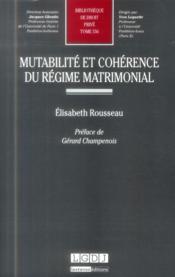 Mutualité et cohérence du régime matrimonial - Couverture - Format classique