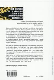 Une histoire de la médecine légale et de l'identification criminelle - 4ème de couverture - Format classique