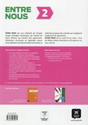 Entre nous 2 ; français ; livre de l'élève - 4ème de couverture - Format classique