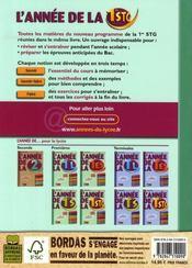 L'ANNEE DE ; l'annee de la 1ere stg ; toutes les matieres reunies dans le meme livre - 4ème de couverture - Format classique