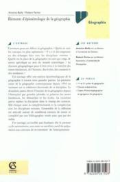 Elements D'Epistemologie De La Geographie ; 2e Edition - Couverture - Format classique