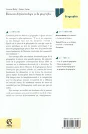 Elements D'Epistemologie De La Geographie ; 2e Edition - 4ème de couverture - Format classique
