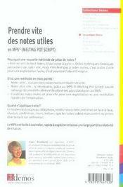 Prendre vite des notes utiles - 4ème de couverture - Format classique