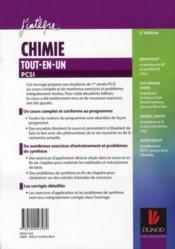 Chimie tout-en-un ; PCSI ; cours et exercices corrigés (2e édition) - 4ème de couverture - Format classique