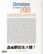 Chronique de l'année 2010 - 4ème de couverture - Format classique