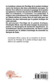 Florilege De La Poesie Erotique - Vol. 3 - 4ème de couverture - Format classique
