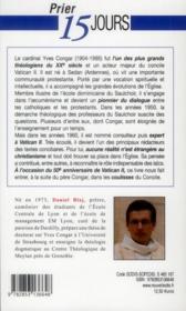 Prier 15 Jours Avec ; Yves Congar, Acteur Majeur Du Concile Vatican Ii - 4ème de couverture - Format classique
