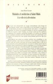 Malades et médecins à Saint-Malo ; à la veille de la Révolution - 4ème de couverture - Format classique