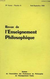 REVUE DE L'ENSEIGNEMENT PHILOSOPHIQUE, 31e ANNEE, N° 6, AOUT-SEPT. 1981 - Couverture - Format classique