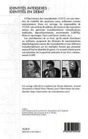 Identités intersexes : identités en débat - 4ème de couverture - Format classique