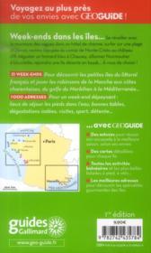 GEOGUIDE ; week-ends dans les îles ; Manche, Atlantique, Méditerranée - 4ème de couverture - Format classique