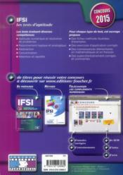 IFSI ; les tests d'aptitude ; concours ; 2015 - 4ème de couverture - Format classique