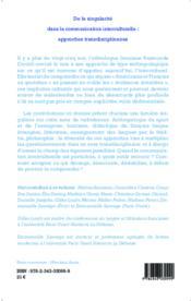 De la singularité dans la communication interculturelle : approches transdisciplinaires - Couverture - Format classique