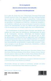 De la singularité dans la communication interculturelle : approches transdisciplinaires - 4ème de couverture - Format classique