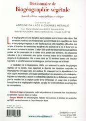 Dictionnaire de biogéographie végétale (nouvelle édition encyclopédique et critique) - 4ème de couverture - Format classique