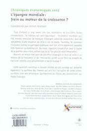 Chroniques Economiques 2005 ; L'Epargne Mondiale : Frein Ou Moteur De La Croissance ? - 4ème de couverture - Format classique